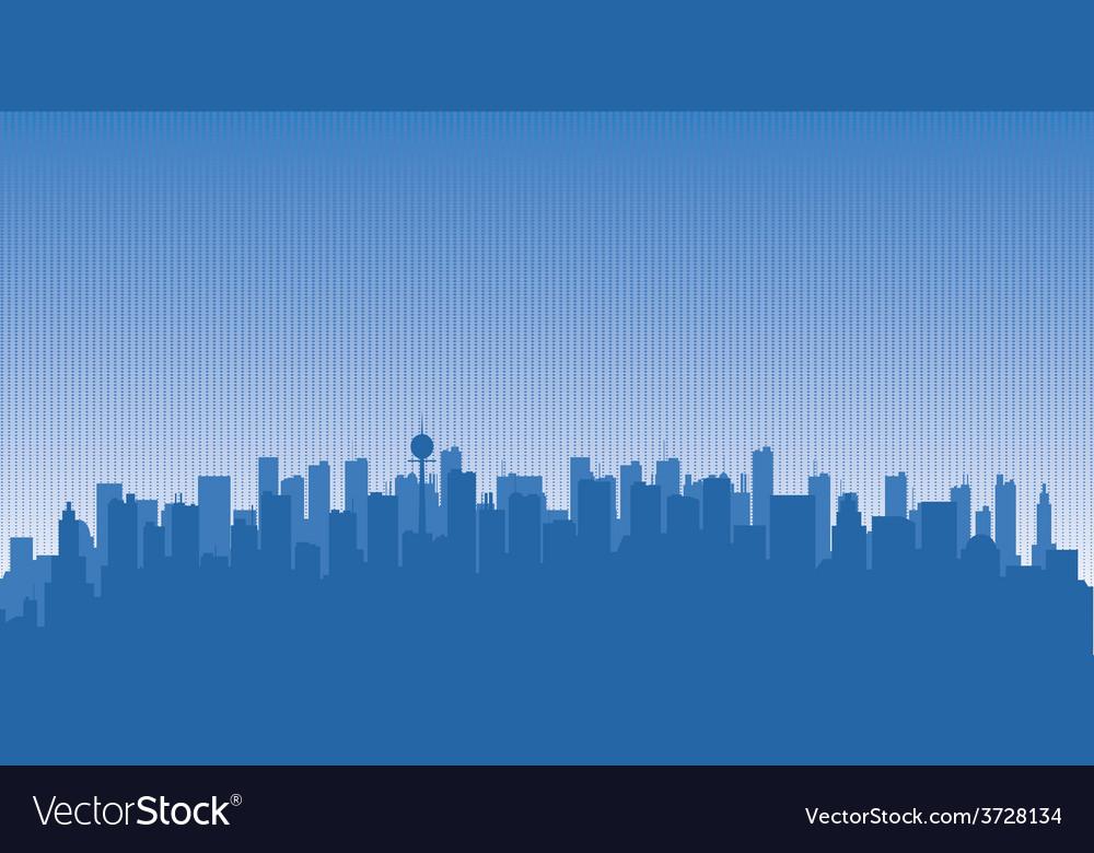 Original contour of the big city on a blue
