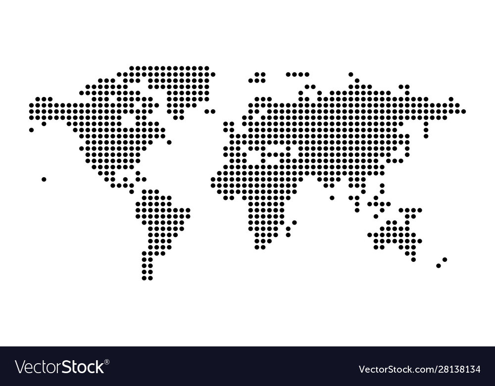 Political dotted world map isolated