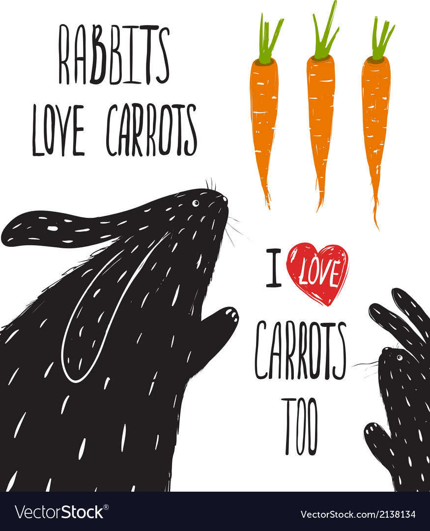 Scratchy Rabbits Love Carrots Lettering