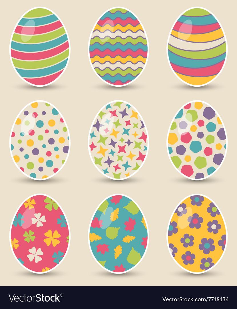 Set of nine colorful easter eggs