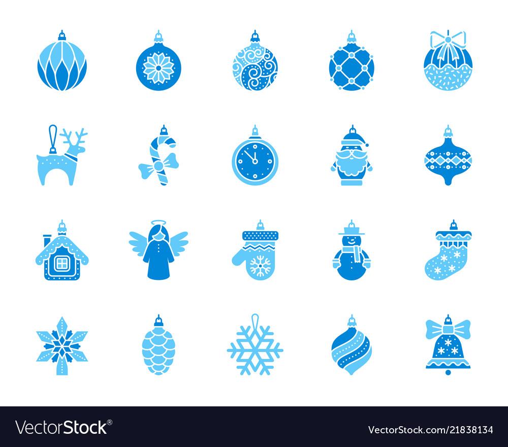 Xmas tree decor simple color flat icons set
