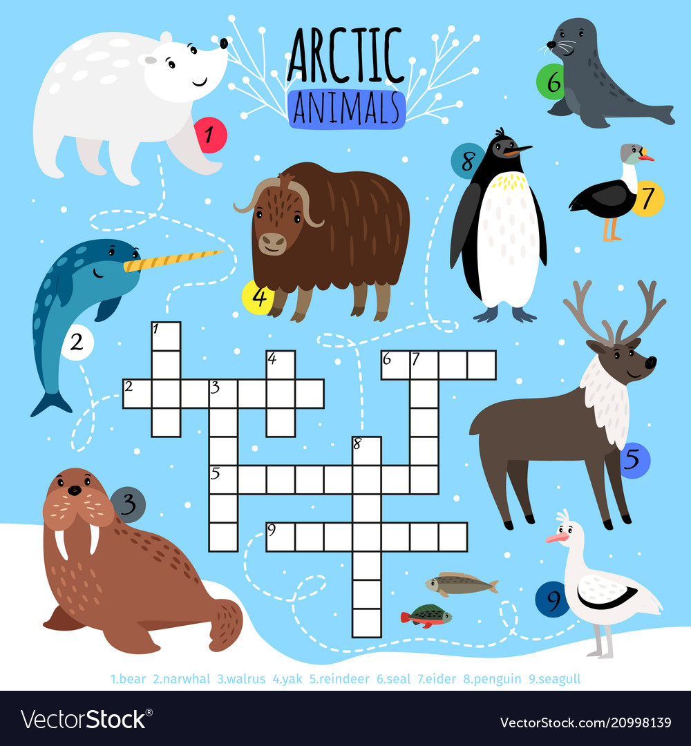 Arctic animals crossword puzzle Royalty Free Vector Image