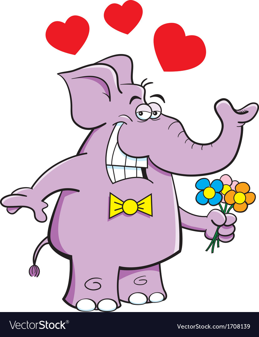 Cartoon Elephant with Flowers