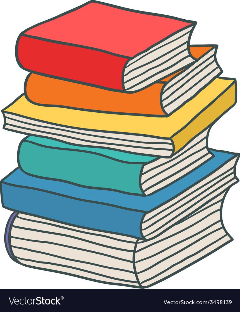cartoon hand drawn stack of books royalty free vector image rh vectorstock com Clip Art Stack of Books Clip Art Stack of Books