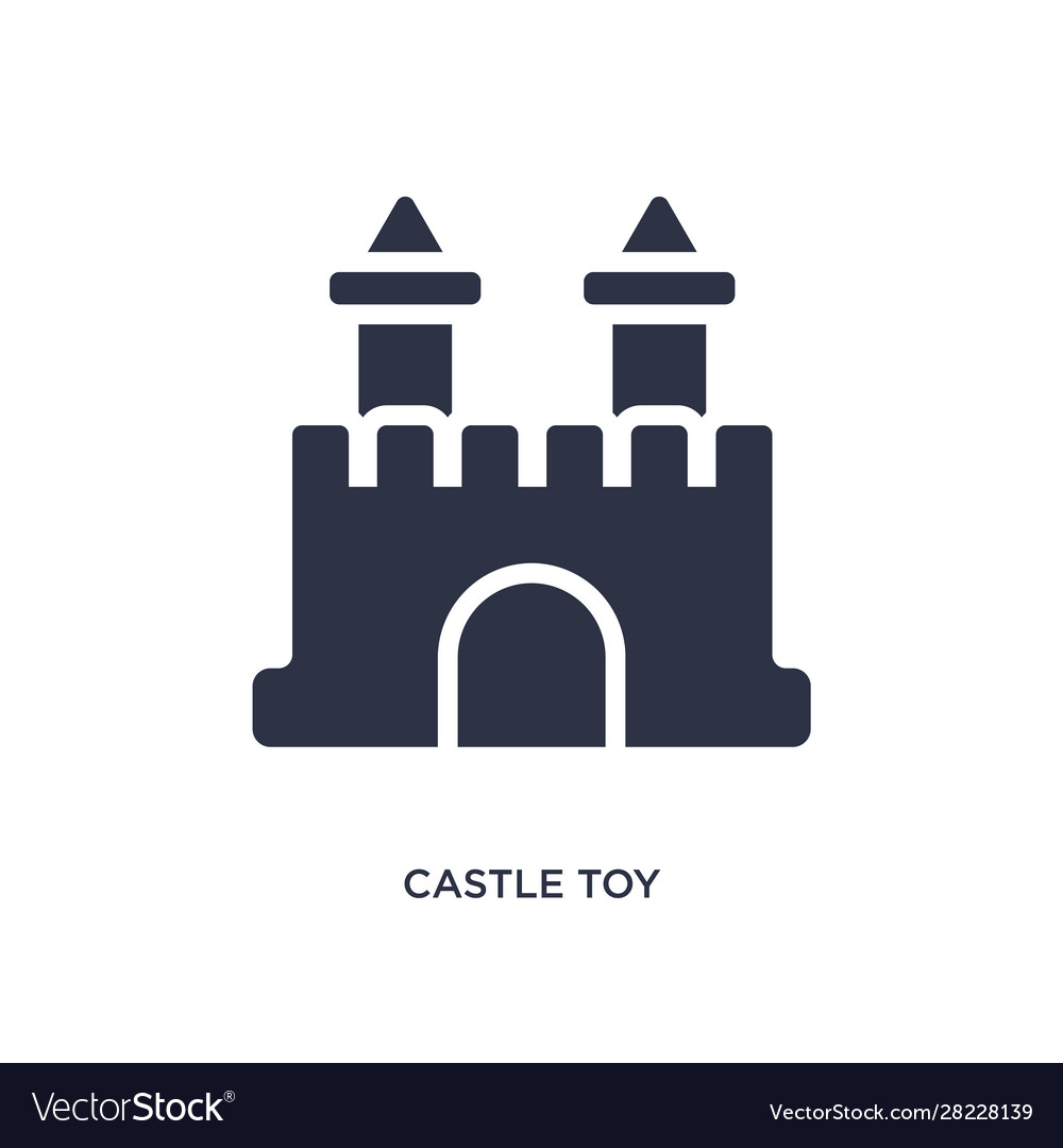 Castle toy icon on white background simple