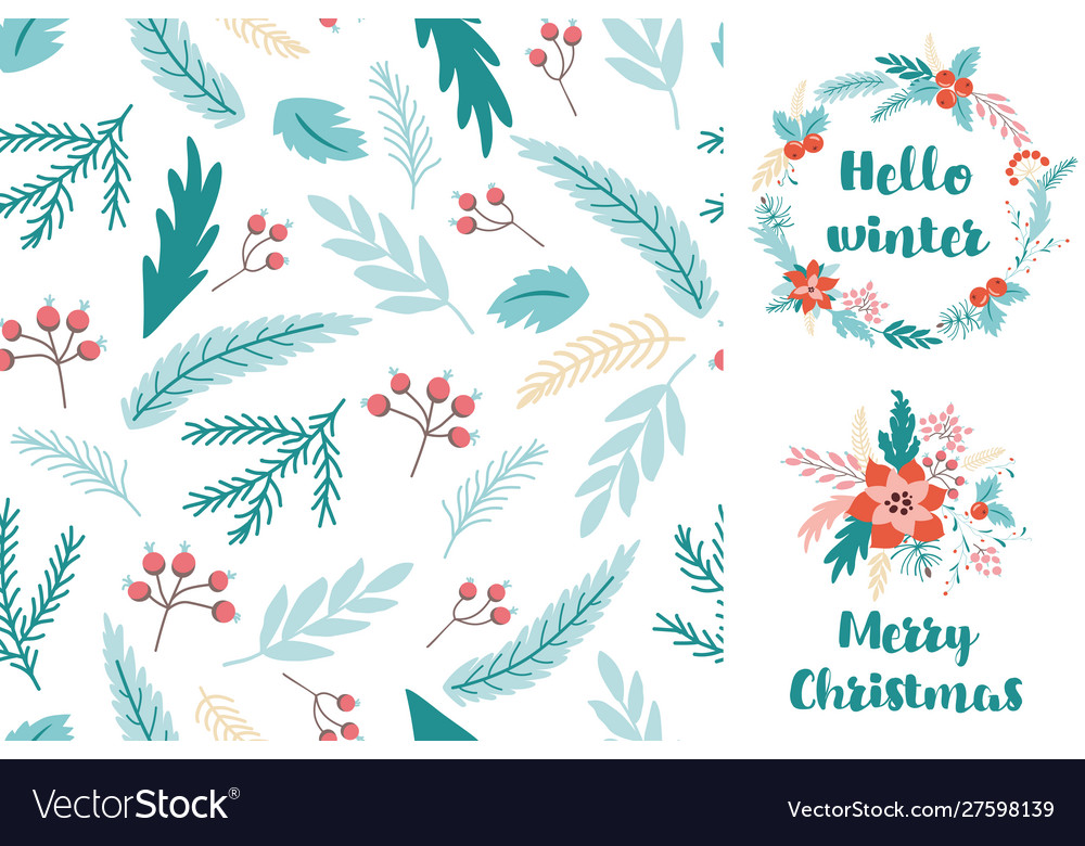 Christmas fir seamless pattern greeting card with