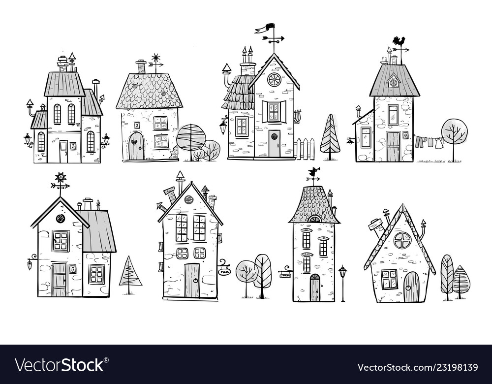 Cute doodle houses on white background