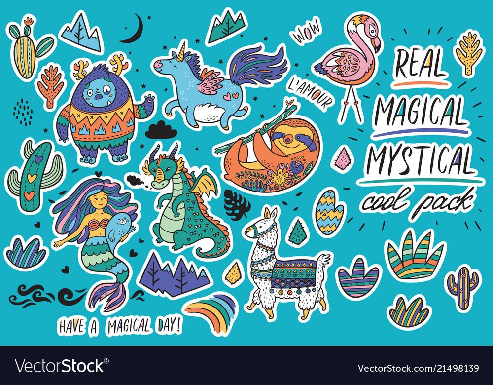 Cute magical sticker set with yeti unicorn