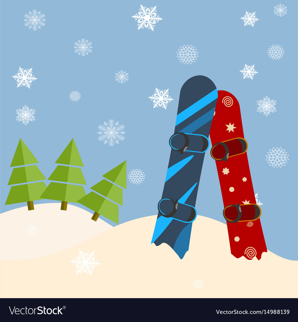 Fir trees snowboards hills winter bright day vector image