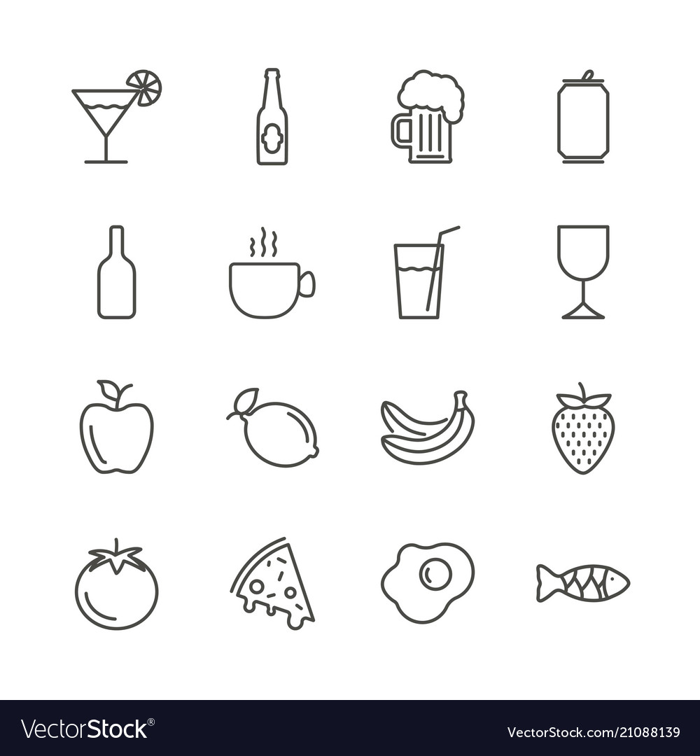 Food and drink set icon outline restaurant