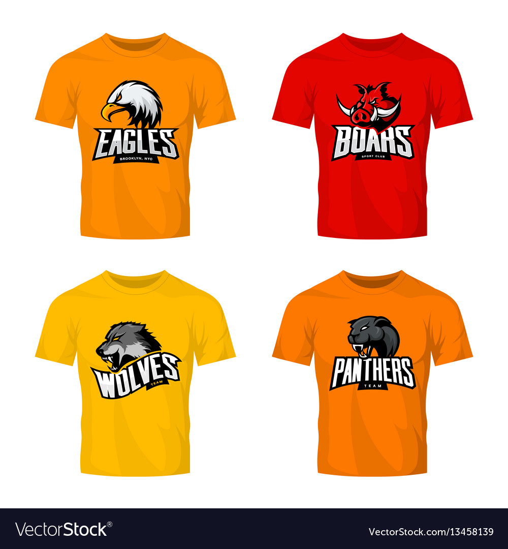 Furious panther wolf eagle and boar sport vector image