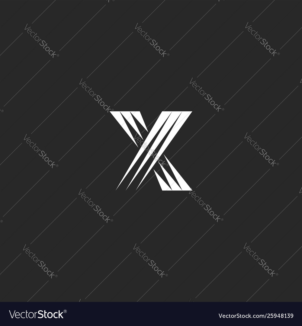 Monogram x letter logo design element overlapping