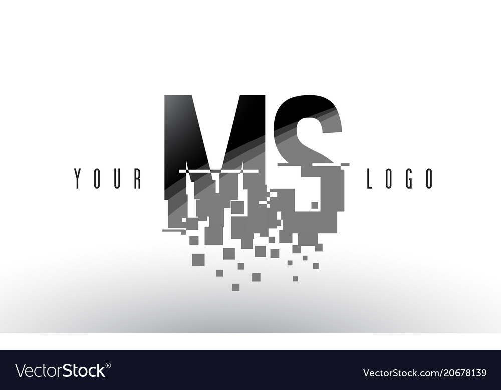 ms m s pixel letter logo with digital shattered vector image