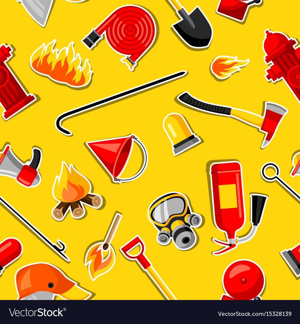 Seamless pattern with firefighting stickers fire