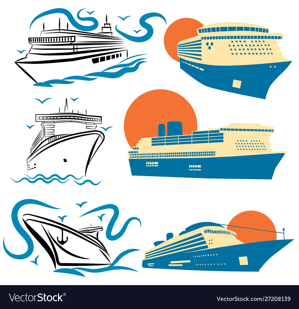 Set stylized cruise liners collection of