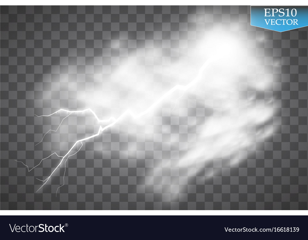 Storm and lightning with rain and white cloud vector image