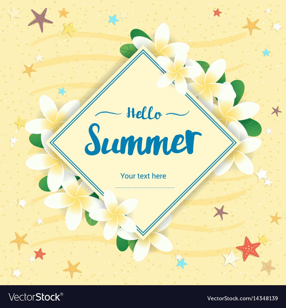 Summer greeting season with plumeria flowers