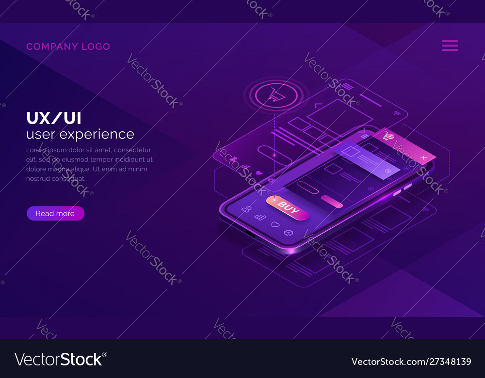 User experience isometric concept ux ui wireframe
