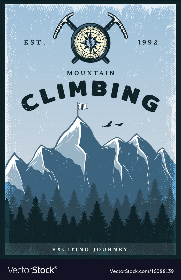 Vintage colored mountain climbing poster