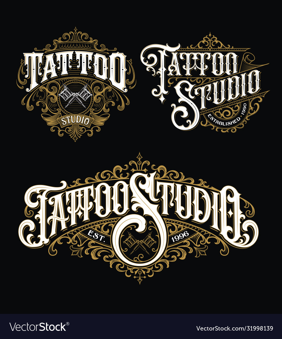 Vintage tattoo lettering logo set