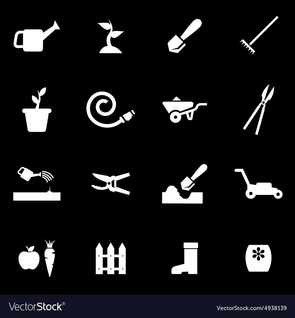 White gardening icon set