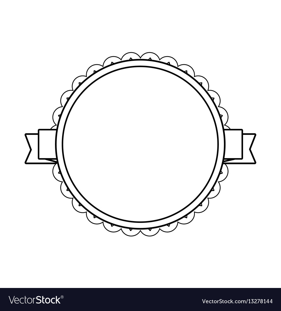 Black Label Price >> Black circle label with lacy border Royalty Free Vector