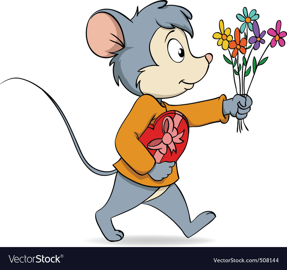 Cartoon cute mouse with heart gift box and flowers