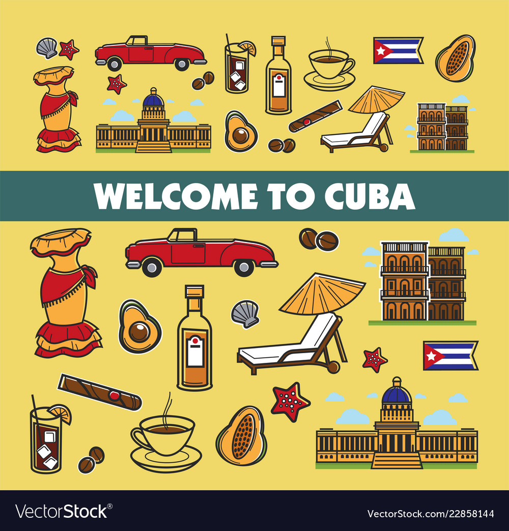 Cuban culture promo banner with national symbols
