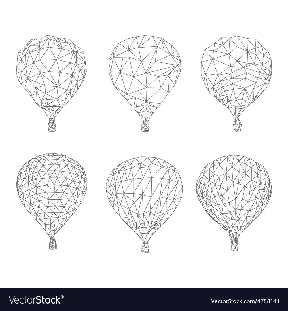 Hot air balloon polygon outline