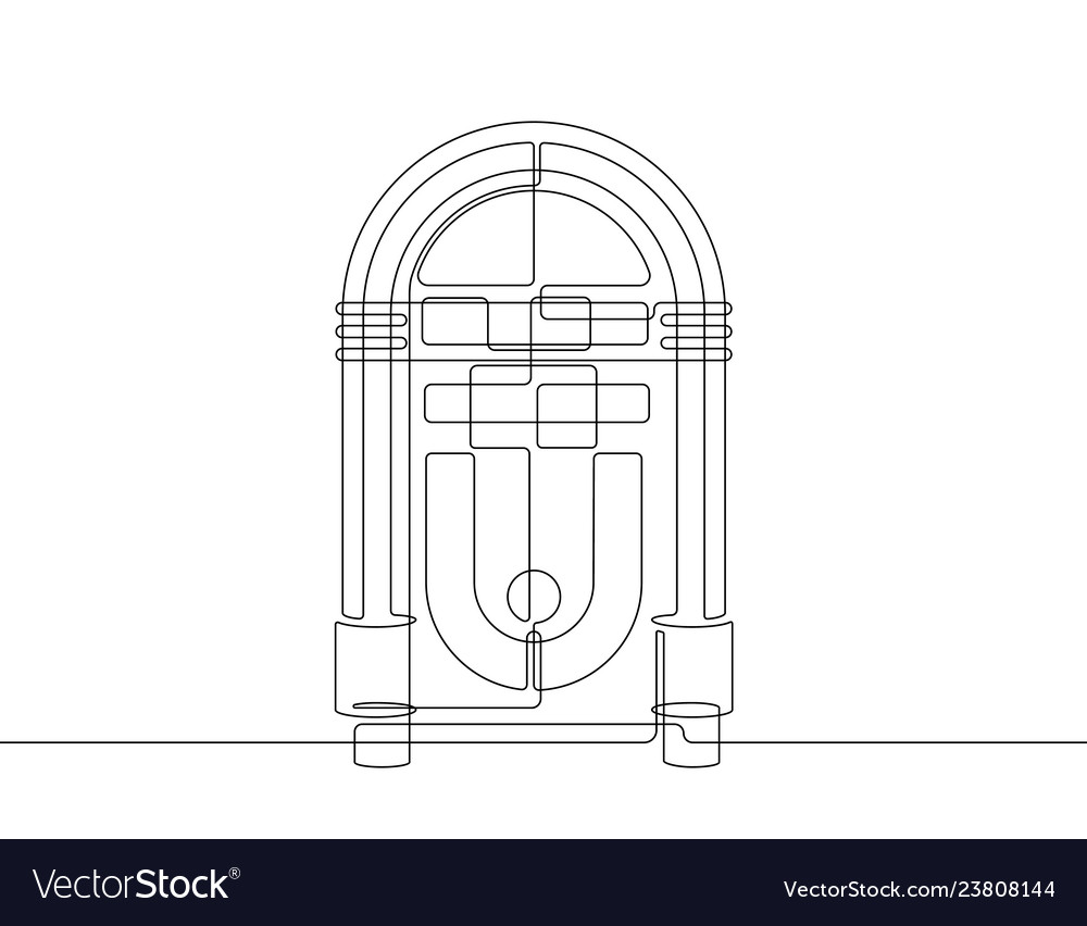 Jukebox continuous line graphic