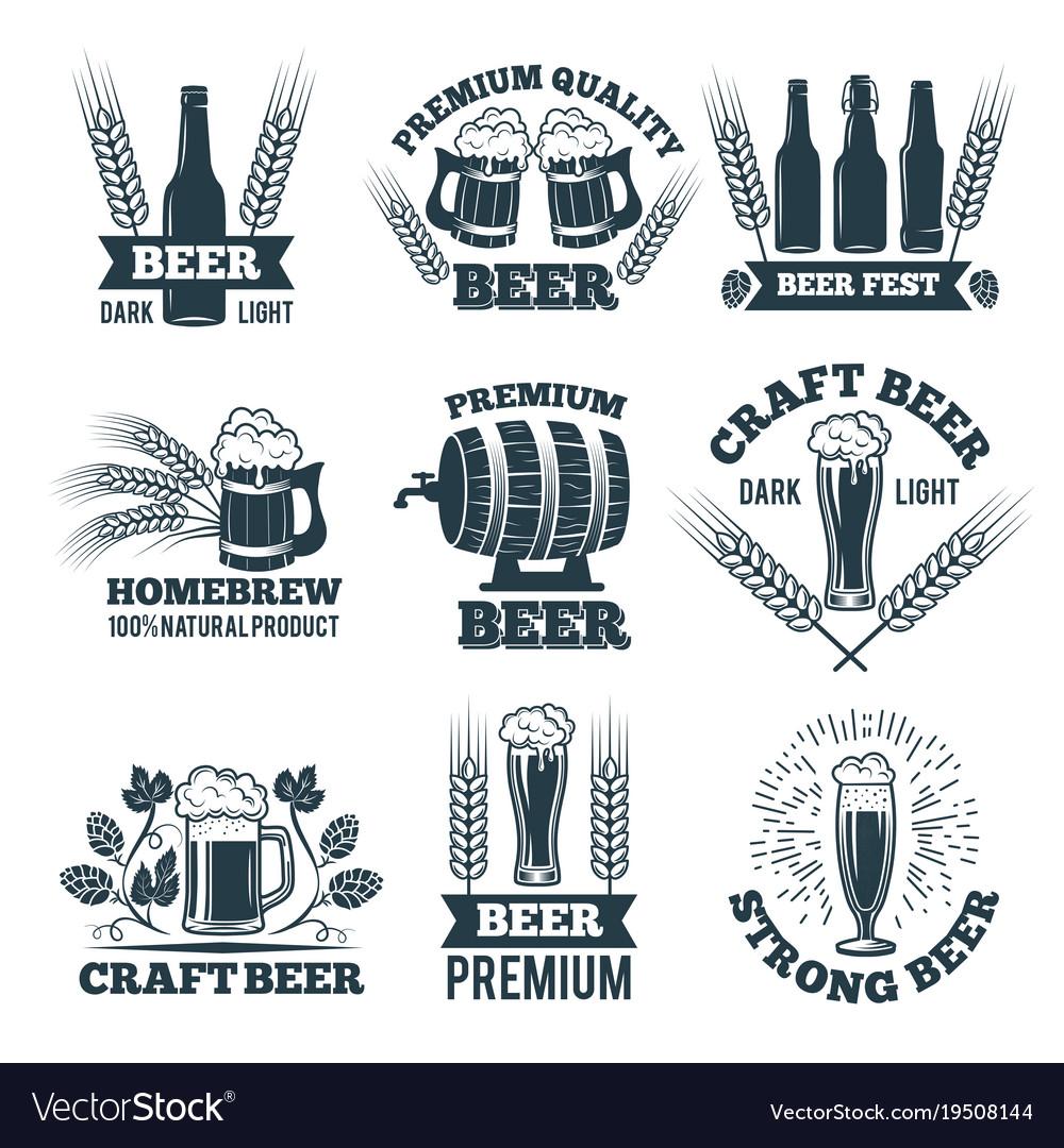 Labels or badges set of beer elements for emblem