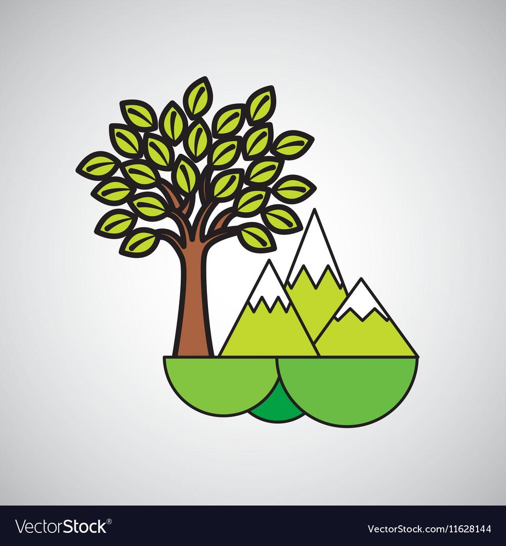 Mountains tree ecology symbol graphic