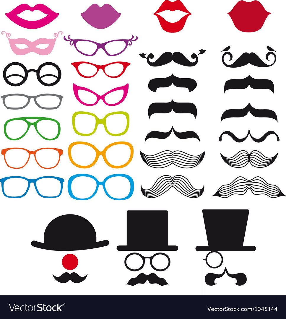 Mustache and spectacles design elements vector