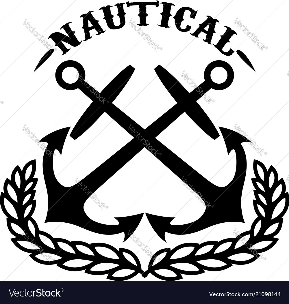 Nautical emblem template with wreath and crossed