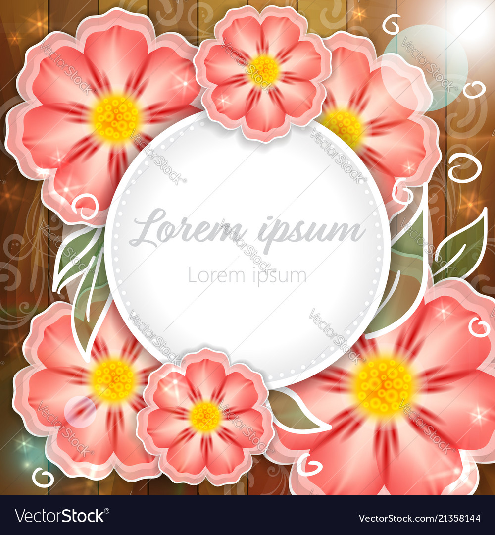 Pink Flowers On Wooden Background Royalty Free Vector Image