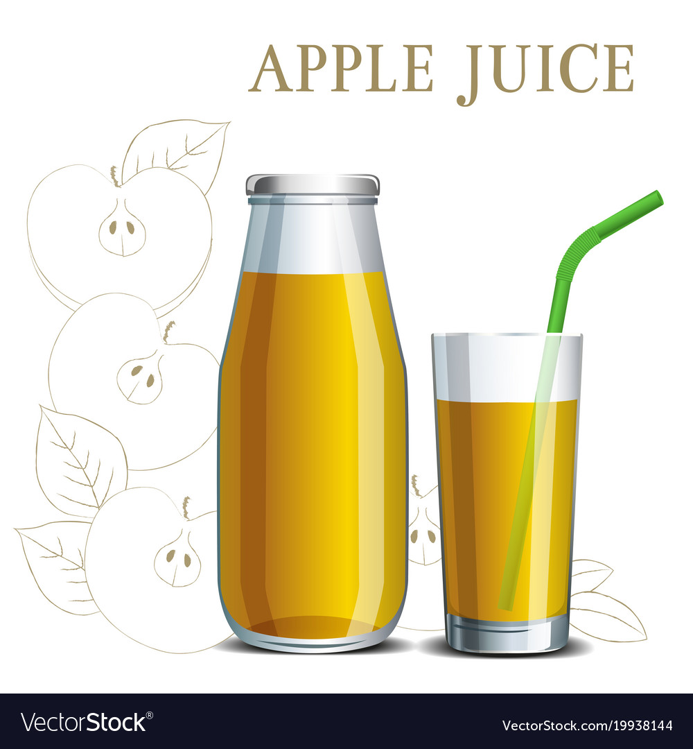 Realistic apple juice in a jar and a glass