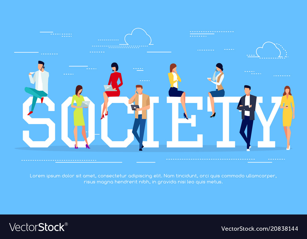 Society modern people in a flat style