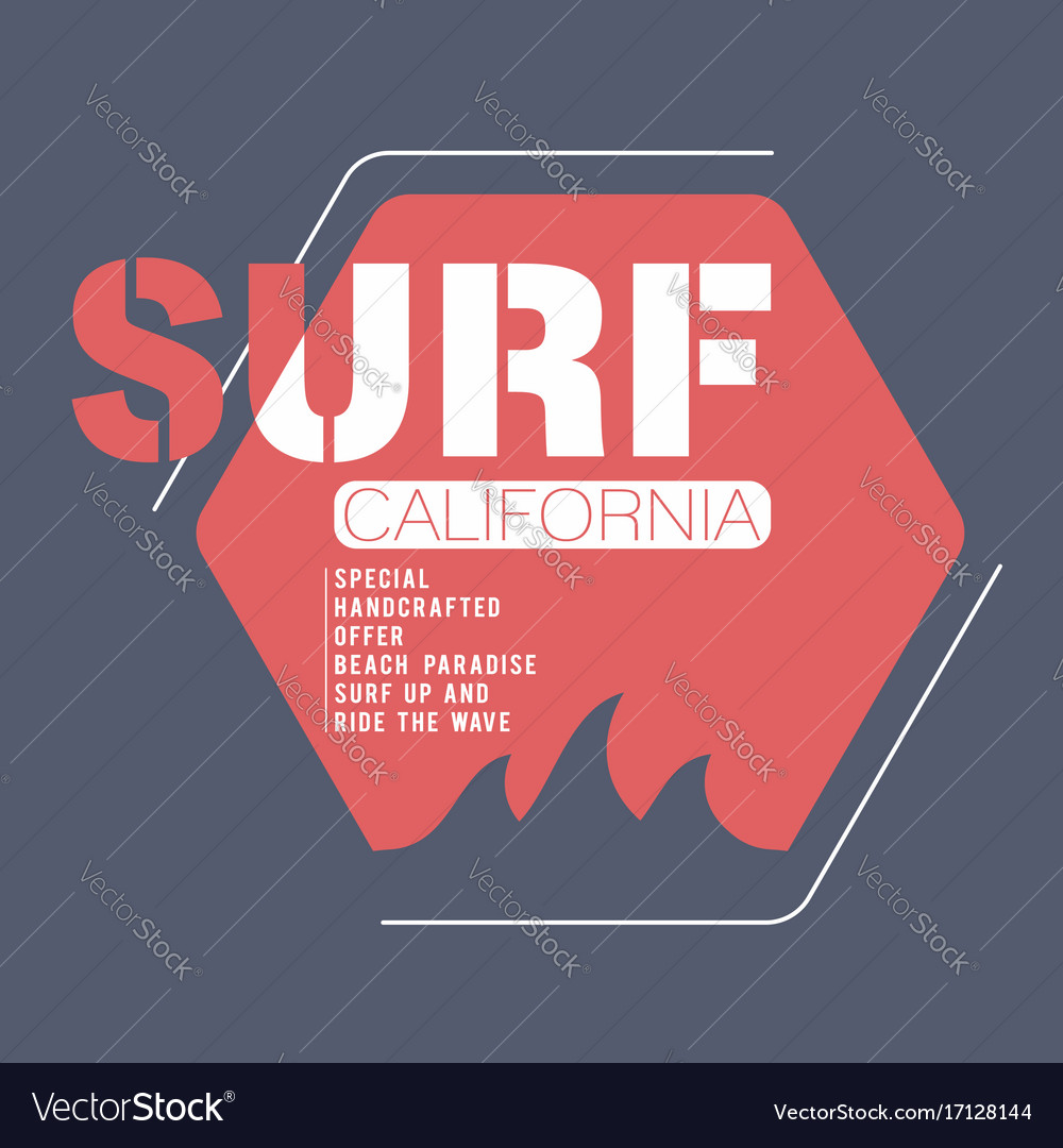 Surfing california typography for t-shirt print