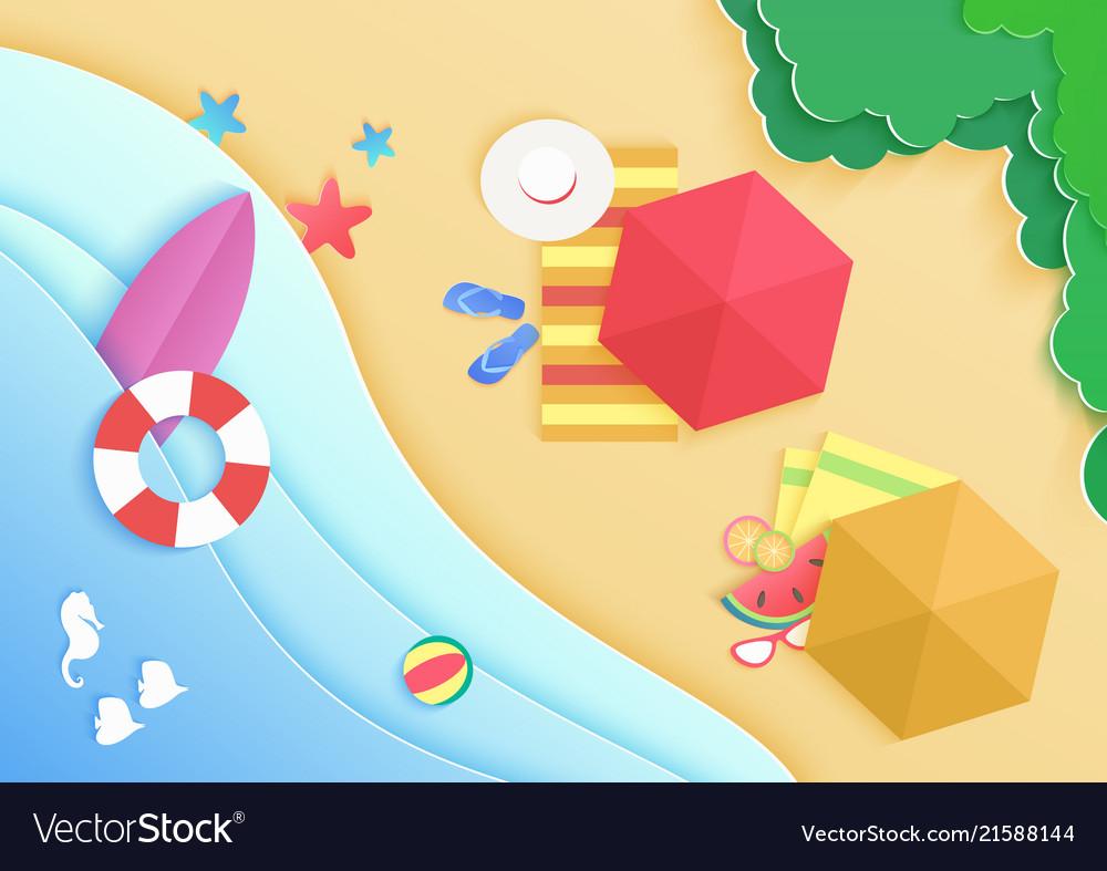 Top view cartoon ocean sea beach background with