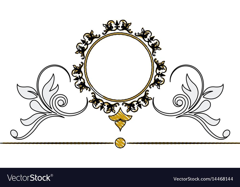 Vintage round swirl flourish decoration frame