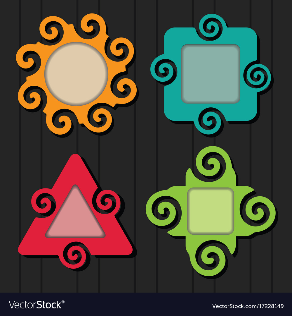 Abstract colorful spiral shapes frame set icons