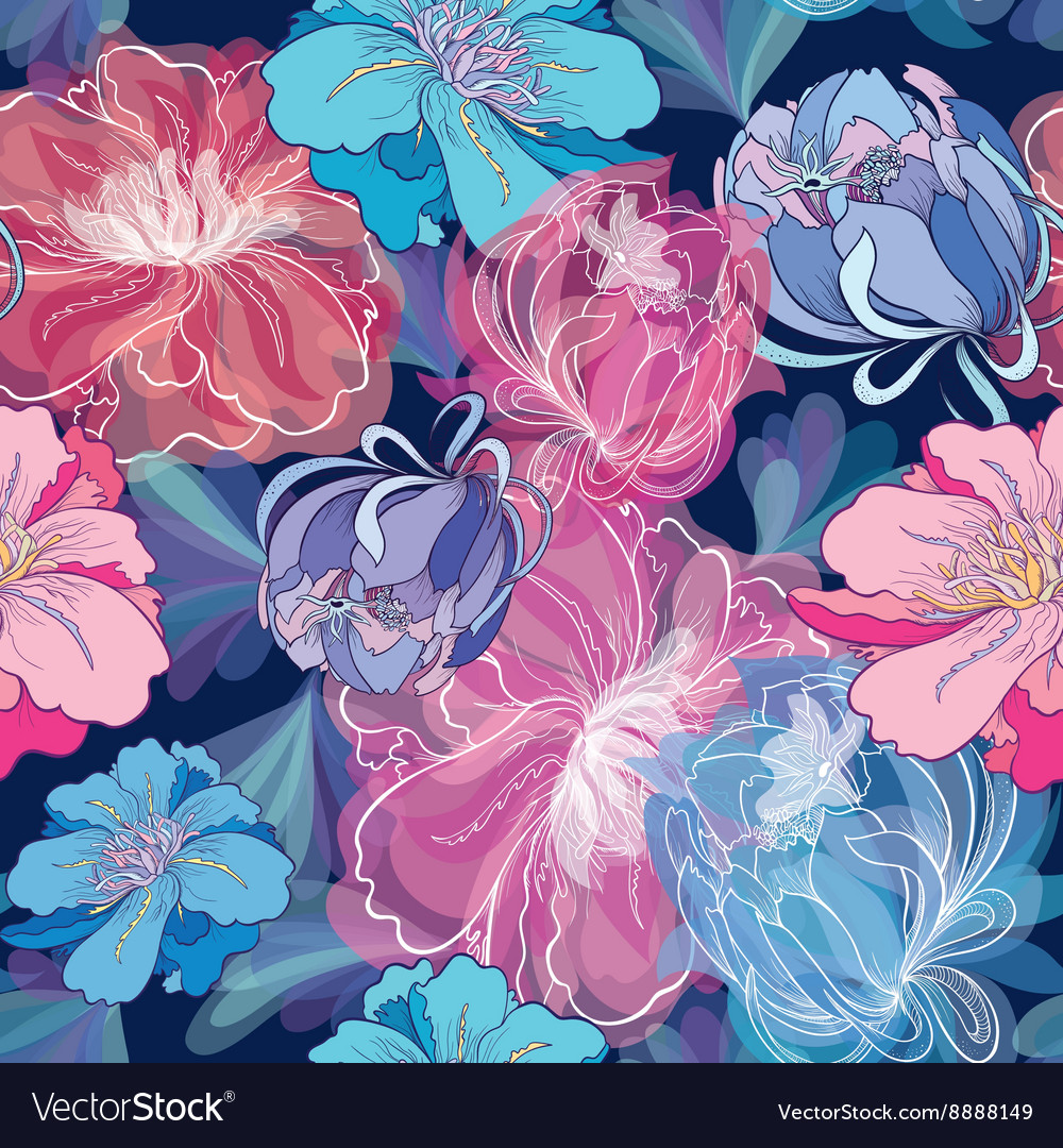 Blue Romantic Floral Pattern vector image