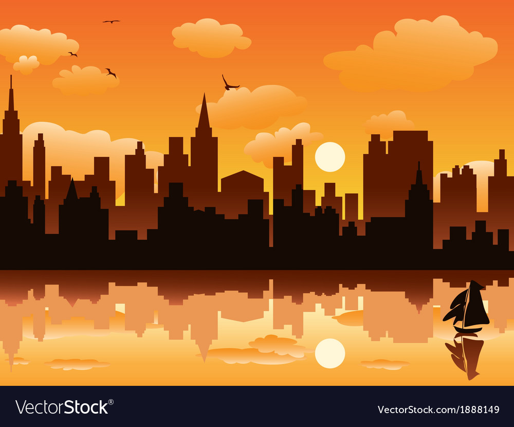 City in sunset vector image