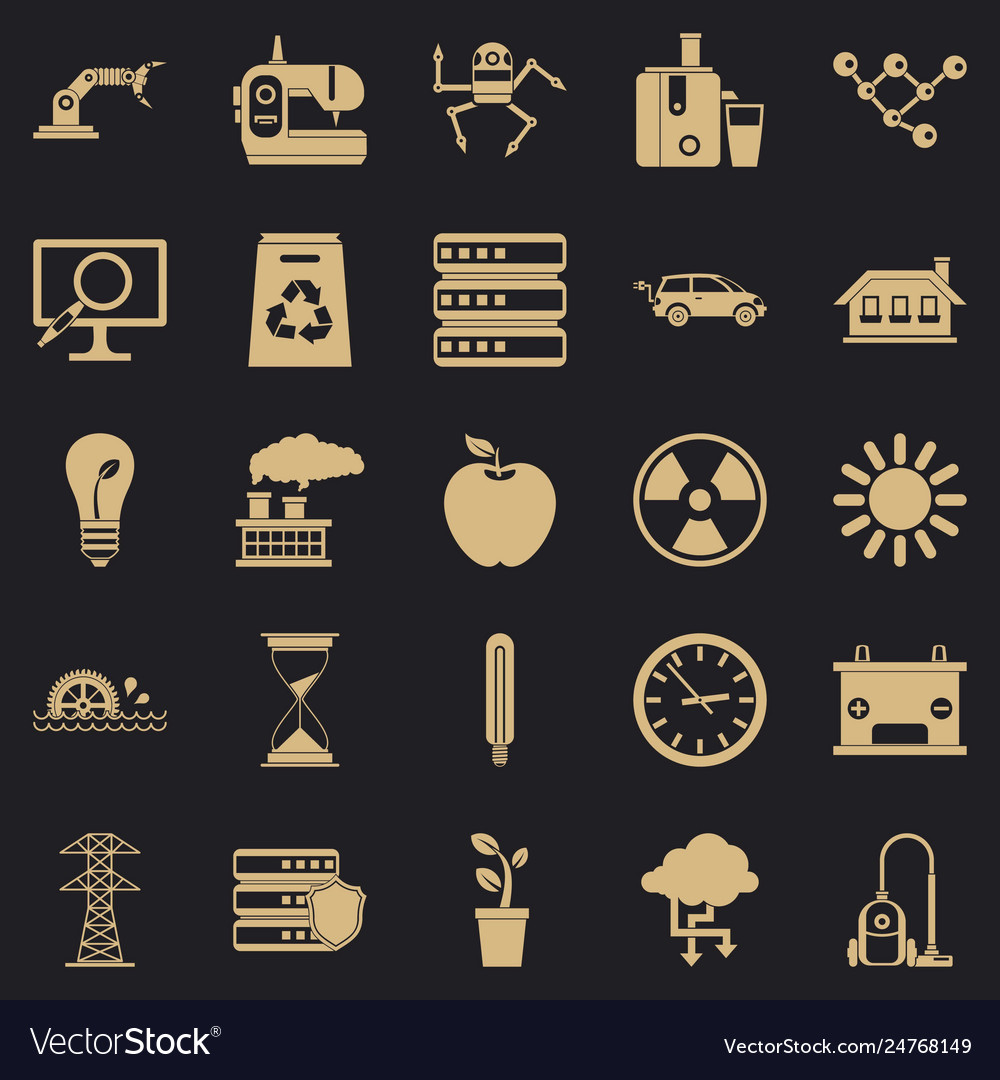 Compensator icons set simple style