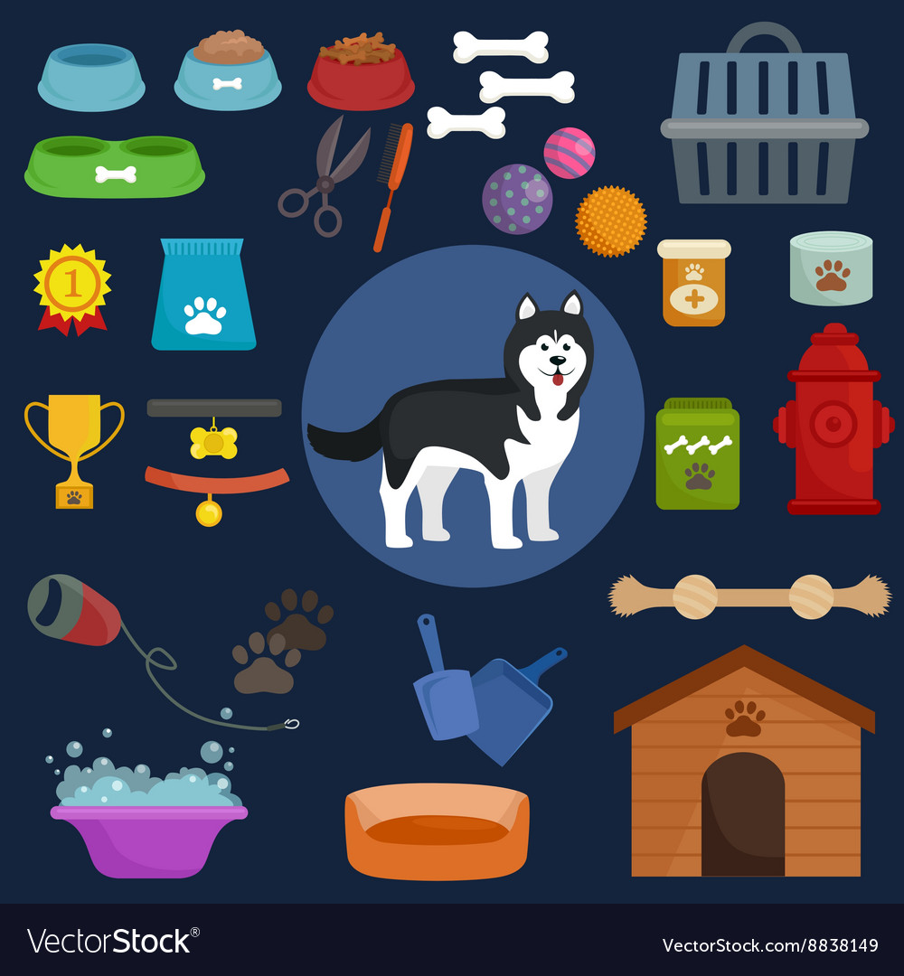 Dog icons flat set with dung kennel leash food