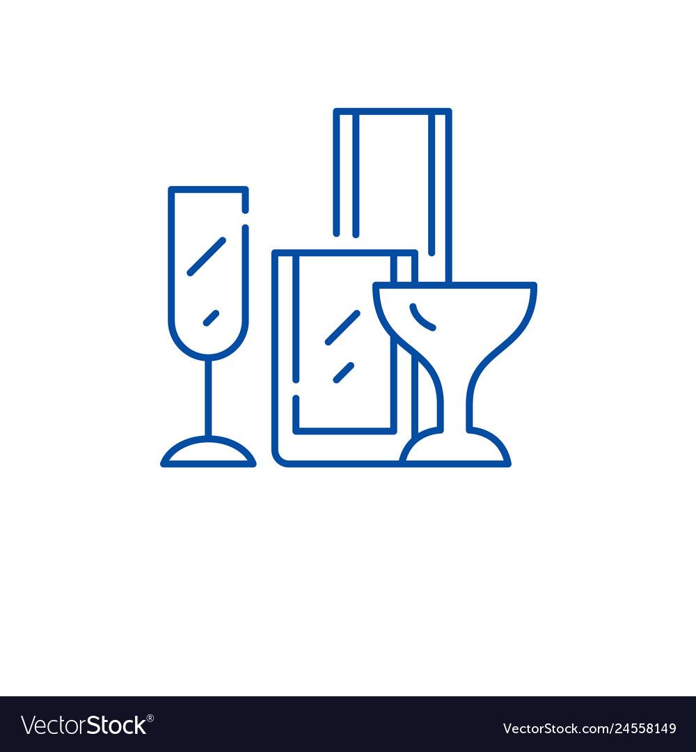 Drinks glassware line icon concept drinks