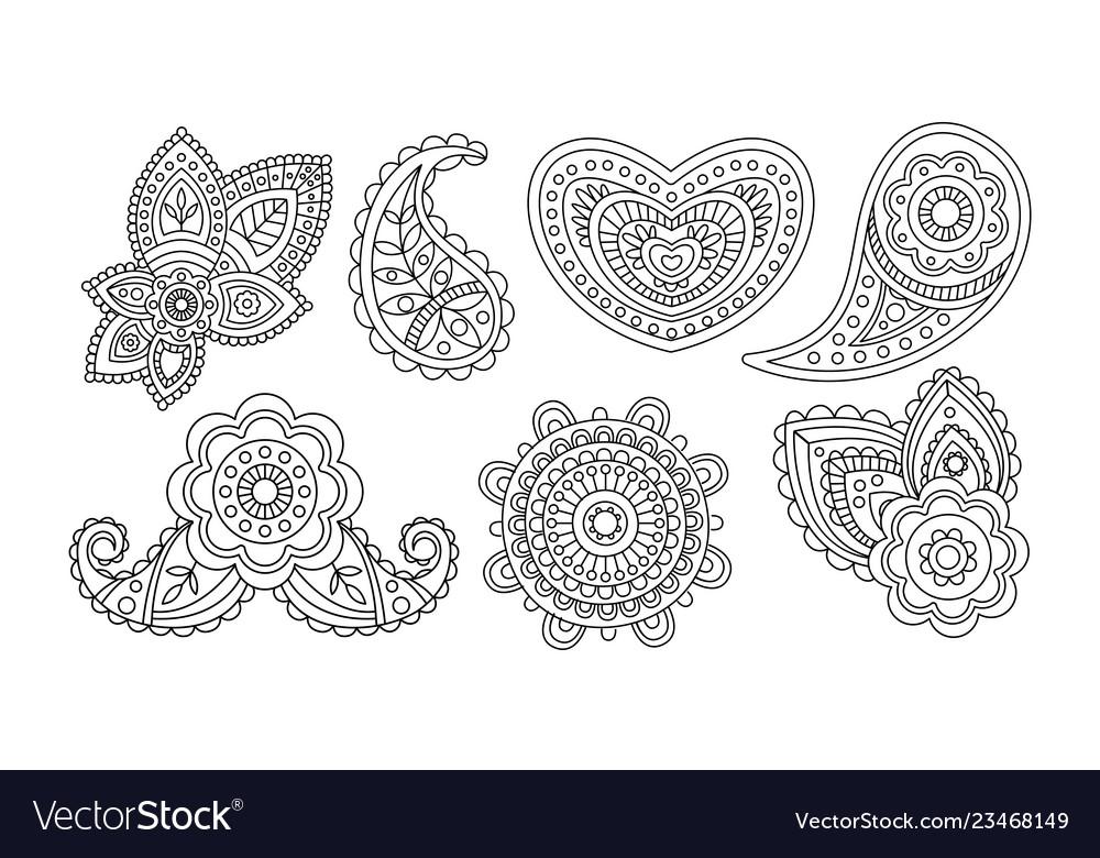 Elegance vintage design elements floral hand