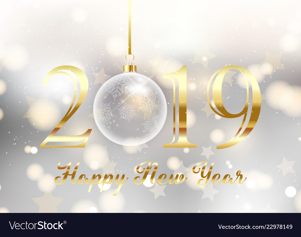 gold and silver happy new year background vector image