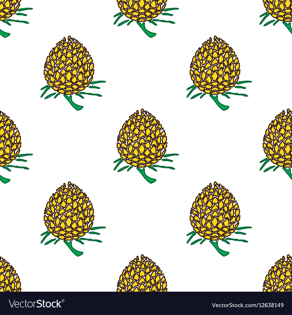 Golden young pineapple on light background