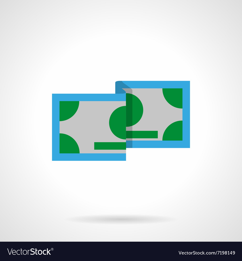 Green banknote flat color icon vector image